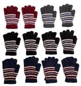 12 Pairs Of Womens Stripe Knit Warm Fashion Winter Gloves
