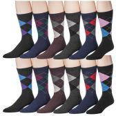 12 Pairs of SOCKSNBULK Men's Designer Pattern Dress Socks, Cotton Blend