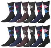 12 Pairs of SOCKSNBULK Mens Fashion Designer Dress Socks, Cotton Blend (1912)
