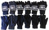 12 Pair Of SOCKSNBULK Mens SnowFlake Fair Isle Gloves With Thermal Lining Assorted Colors
