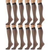 12 Pairs of excell Sheer Trouser Socks for Women, 20 Denier Knee High Dress Socks (Charcoal)