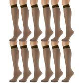 12 Pairs of excell Sheer Trouser Socks for Women, 20 Denier Knee High Dress Socks (Brown)
