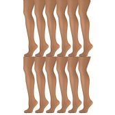 12 Pack of Mod & Tone Sheer Support Control Top 30D Womens Pantyhose (Nude, QN-2)