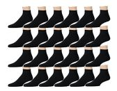 Kids Sports Ankle Socks, Wholesale Bulk Pack Athletic Sock for Girls and Boys, by SOCKSNBULK (Black, 6-8)