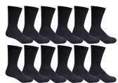 12 Pairs of Kids Sports Crew Socks, Wholesale Bulk Pack Athletic Sock for Girls and Boys, by excell (Black, 6-8)