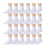 Kids Sports Ankle Socks, Wholesale Bulk Pack Athletic Sock for Girls and Boys, by SOCKSNBULK (White, 6-8)