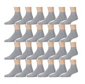 24 Pairs of Kids Sports Ankle Socks, Wholesale Bulk Pack Athletic Sock for Girls and Boys, by excell (Gray, 4-6)