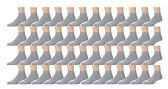 48 Pairs of Kids Sports Ankle Socks, Wholesale Bulk Pack Athletic Sock for Girls and Boys, by excell (Gray, 4-6)