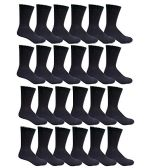 24 Pairs of Mens Sports Crew Socks, Wholesale Bulk Pack Athletic Sock, by SOCKSNBULK (Black, 10-13)