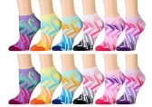 12 Pairs of WSD Womens Ankle Socks, Cotton No Show, Many Colorful Patterns (Pack H)