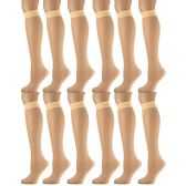 6 Pairs Pack Women Knee High Trouser Socks Opaque Stretchy Spandex (Many Colors) (Cream)