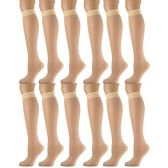 6 Pairs Pack Women Knee High Trouser Socks Opaque Stretchy Spandex (Many Colors) (Silver)