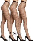 3 Pack WomenGs Fishnet Pantyhose, High Waisted Mesh Stockings, Black, by SOCKSNBULK (Queen Size)