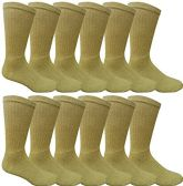 12 Pairs Value Pack of Wholesale Sock Deals Mens Ringspun Cotton 2Tone Twisted Socks, Khaki