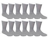 Value Pack of Wholesale Sock Deals Womens Crew Socks, Gray 9-11