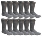 12 Pairs Value Pack of Wholesale Sock Deals Mens Crew Socks, Dark Gray 10-13