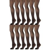 12 Pack of Mod & Tone Sheer Support Control Top 30D Womens Pantyhose (Black, QN-1)