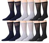 12 Pairs Unisex White Diabetic Socks for Neuropathy, Edema, Circulation, Comfort, by SOCKSNBULK (10-13, Assorted (Black, Heather Grey, Charcoal Grey))