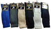 12 Pairs Of excell Mens Casual Striped Winter Thermal Socks, Sock Size 10-13