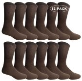 Yacht & Smith Men's Crew Socks Size 10-13 Brown 12 pack