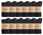 12 Pairs of Womens Knee High Socks, Cotton, Flat Knit, Solid Colors (Black)