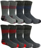 8 Pairs of Thermal Tube Socks, Warm Terry Cushioning Boot Sock, Mens or Womens by WSD (10-13, Assorted B)