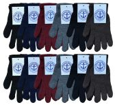 Mens Winter Gloves, Assorted Solid Colors, Warm Acrylic Thermal Glove Magic Gloves
