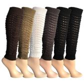 6 Pairs of Womens Leg Warmers, Warm Winter Soft Acrylic Assorted Colors by WSD (Slouch) (One Size)