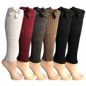 6 Pairs of Womens Leg Warmers, Warm Winter Soft Acrylic Assorted Colors by WSD  (Bow) (One Size)
