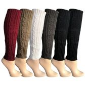 6 Pairs of Womens Leg Warmers, Warm Winter Soft Acrylic Assorted Colors by WSD (Cable Knit, A) (One Size)