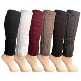 6 Pairs of Womens Leg Warmers, Warm Winter Soft Acrylic Assorted Colors by WSD (Cable Knit, B) (One Size)