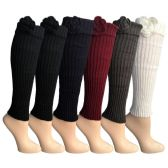 6 Pairs of Womens Leg Warmers, Warm Winter Soft Acrylic Assorted Colors by WSD (Flower) (One Size)