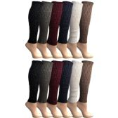 12 Pairs of Womens Leg Warmers, Warm Winter Soft Acrylic Assorted Colors by WSD (Sparkle Studs) (One Size)