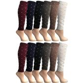 12 Pairs of Womens Leg Warmers, Warm Winter Soft Acrylic Assorted Colors by WSD (Pearl) (One Size)