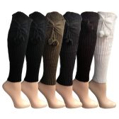 6 Pairs of Womens Leg Warmers, Warm Winter Soft Acrylic Assorted Colors by WSD (Bow & Pom) (One Size)