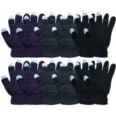 12 Pairs Of excell Touch Screen Winter Gloves, Texting Gloves (12 pack C)