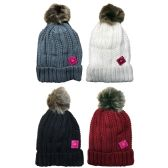 excell Womens Pom Pom Sherpa Lined Cable Knit Warm Winter Beanie (Pack A 4 Pack Pom Pom)