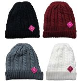 excell Womens Pom Pom Sherpa Lined Cable Knit Warm Winter Beanie (Pack B 4 Pack)