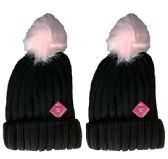 excell Womens Pom Pom Sherpa Lined Cable Knit Warm Winter Beanie (Pack C 2 Pack)