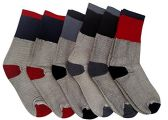 6 Pairs Of excell Womens Winter Warm Thermal Socks With Color Heel And Toe