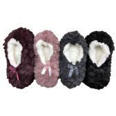 WSD Womens Cozy Slipper Socks or Boot Sock, Sherpa Lined Warm Winter Gift, 4 Pack (Small/Medium, Pack B)