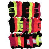 30 Pairs of WSD Womens Ankle Socks, Low Cut Sports Sock - Assorted Styles (Varsity Prints)