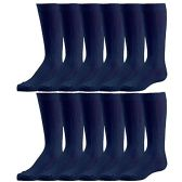 Bulk Pack excell Girls Fancy Cable Knit Knee High Socks, Solid Colors, Uniform Socks (6 Pair Navy, 8-9.5)