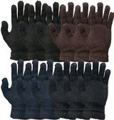 excell Mens and Womens Warm And Stretchy Winter Gloves (Mens 12 Pairs Solids)