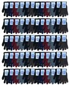 60 Pack Mens and Womens Warm And Stretchy Winter Gloves Bulk Wholesale (Mens Assorted)