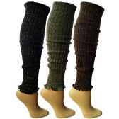 3 Pairs of Womens Leg Warmers, Warm Winter Soft Acrylic Assorted Colors by WSD (Assorted C)