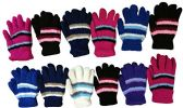 12 Pair Pack Of excell Kids Warm Winter Colorful Magic Stretch Gloves (396)