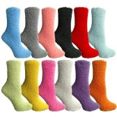 12 Pairs of SOCKSNBULK Womens Solid Colored Fuzzy Socks (Assorted Colors, Size 9-11)