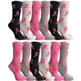 Yacht & Smith Womens Breast Cancer Awareness Pink Ribbon Crew Socks Size 9-11 12 pack