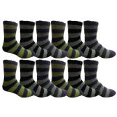 12 Pair Of SOCKSNBULK Mens Striped Winter Warm Fuzzy Socks, Sock Size 10-13 #1468